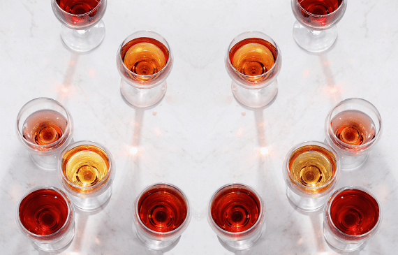 The different shades of rosé wine